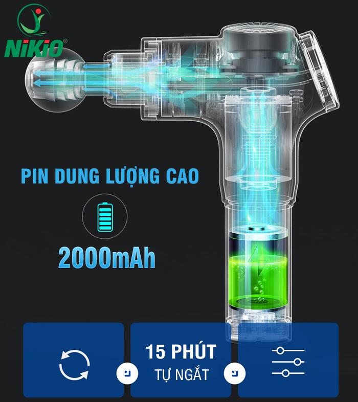 Súng massage cơ bắp Nikio NK-170A - màu xanh