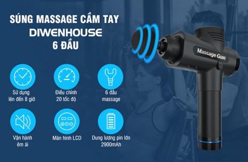 Súng massage cầm tay Magic Gun 6 đầu và 20 tốc độ mát xa