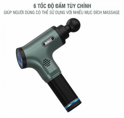 Súng massage gun cầm tay Nhật Bản NIKIO NK-172 - 6 đầu 6 tốc độ mát xa