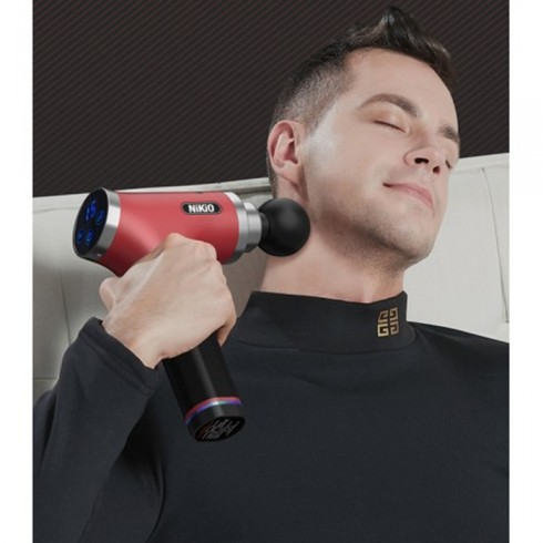 Súng massage gun điều trị đau cơ căng cơ Nikio NK-171 - Đỏ tím
