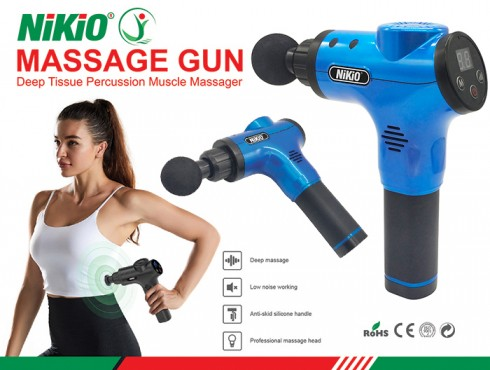 Súng massage cầm tay 5 chế độ 6 đầu Nikio NK-170B - Xanh